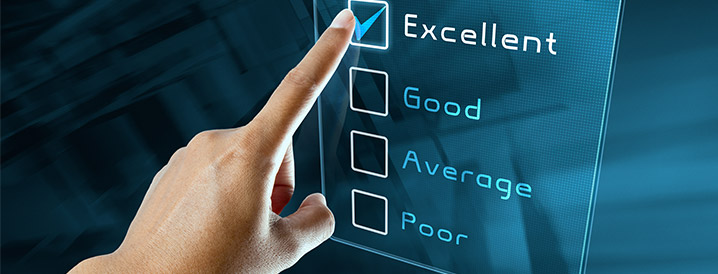 A checklist for quality control in manufacturing showing excellent, good, average, and poor, with excellent checked