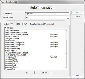 Computer screen image showing user role and process information for Six Sigma programs