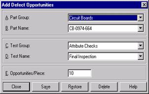 Add Defect Opportunities dialog box